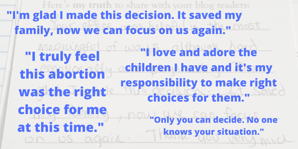 Quotes about abortion care from Maine Family Planning patients, against a faint background of handwriting